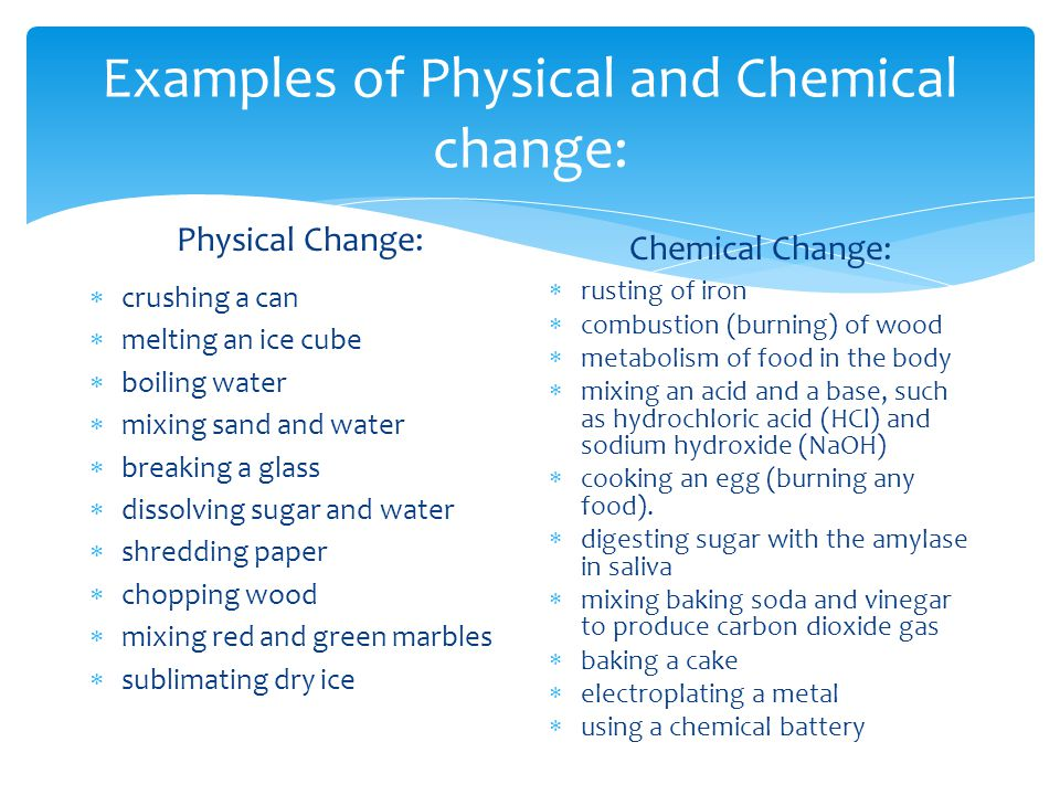 List Examples Of Chemical Properties Of Matter